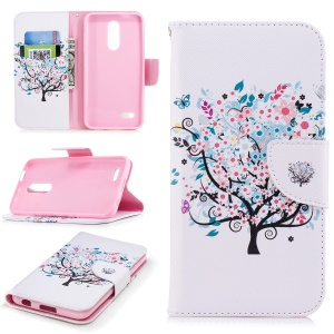 Pattern Printing PU Leather Wallet Stand Cell Phone Shell for LG K10 (2018) - Floret Tree
