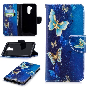 For LG G7 ThinQ Patterned PU Leather Stand Cover Accessory - Blue Butterflies