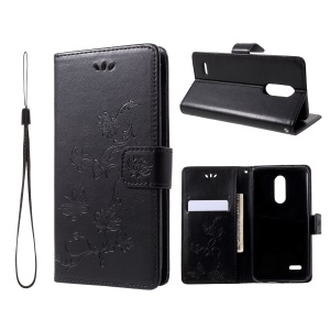For LG K10 (2018) Imprint Butterfly Flower Wallet Stand Leather Case - Black