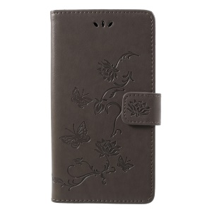 For LG K10 (2018) Imprint Butterfly Flower Wallet Stand Leather Cover - Grey
