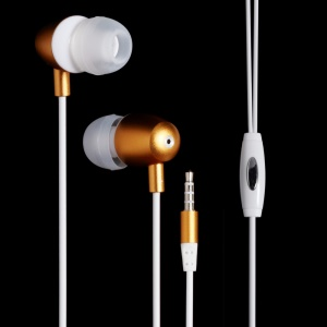 LANGSTON M298 3.5mm In-ear Earphone with Mic for iPhone Samsung Sony etc - Gold
