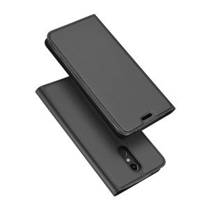 DUX DUCIS Skin Pro Series Flip Leather Stand Phone Casing for LG K8 (2018) -Dark Grey