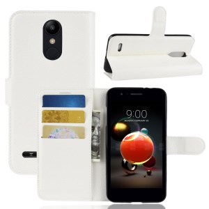 Litchi Skin Wallet Leather Stand Cover for LG K8 (2018) - White
