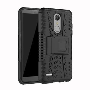 Anti-slip Tyre Pattern PC + TPU Hybrid Case with Kickstand for LG K10 (2018) - Black