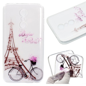 Pattern Printing Soft TPU Back Case for LG K10 (2018) - Eiffel Tower and Bicycle