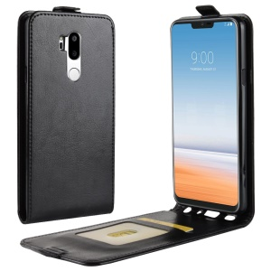 Crazy Horse Vertical Leather Card Holder Case for LG G7 ThinQ - Black