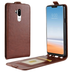 Crazy Horse Leather Vertical Case with Card Slot for LG G7 ThinQ - Brown