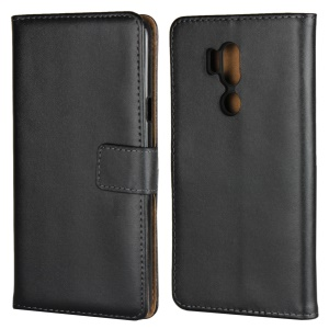 Genuine Leather Wallet Stand Phone Case for LG G7 ThinQ - Black