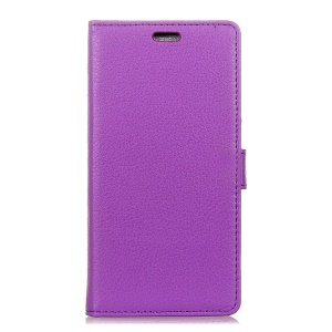 Litchi Skin Leather Wallet Mobile Phone Protective Case for LG X Power3 - Purple