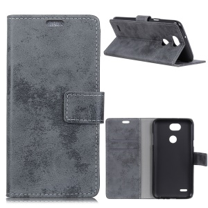 Vintage Style Leather Wallet Stand Phone Cover for LG X Power3 - Grey