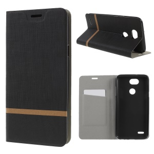 Cross Pattern Leather Card Holder Phone Cover (Built-in Steel Sheet) for LG X Power3 - Black