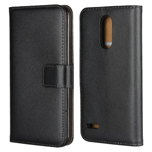 Genuine Leather Wallet Stand Phone Case for LG K8 (2018) - Black