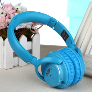 NIA Q1 Over-ear Bluetooth Headphone with Mic Support Micro SD Player / FM Radio / Aux-input - Blue