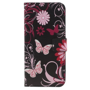 Pattern Printing Wallet Stand Leather Casing for LG G7 ThinQ - Butterfly and Flower