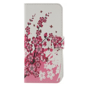 Pattern Printing Wallet Stand Leather Protective Case  for LG G7 ThinQ - Plum Blossom