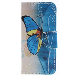 Cross Texture Patterned Wallet Magnetic Leather Cover Casing for LG G7 ThinQ - Blue and Yellow Butterfly