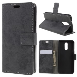 Vintage Style Leather Wallet Case for LG Q7 - Grey