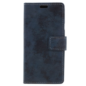 Vintage Style Wallet Leather Stand Case for LG Q7 - Blue