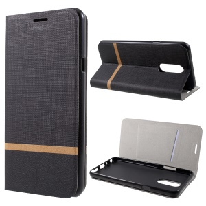 Cross Texture Contrast Color Stand Leather Mobile Case for LG Q Stylus / Stylo 4 - Black