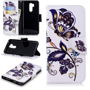 Pattern Printing Wallet Leather Stand Phone Shell for LG G7 ThinQ - Butterfly and Flower