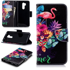 Pattern Printing PU Leather Protection Cell Phone Case for LG G7 ThinQ - Flamingo and Pineapple