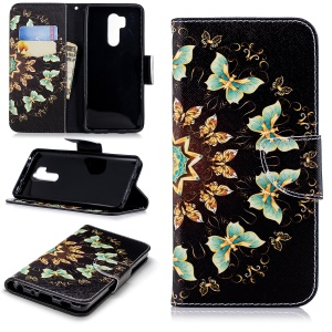 Custodia Per Cellulare In Pelle Con Motivo Stampato Per LG G7 Thinq - Farfalle Colorate