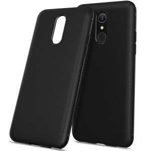 Twill Texture Silicone Back Cover for LG Q7 - Black