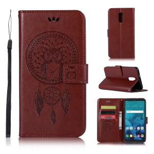 Imprint Owl Dream Catcher Wallet Stand Leather Cell Phone Cover for LG Q Stylus - Brown