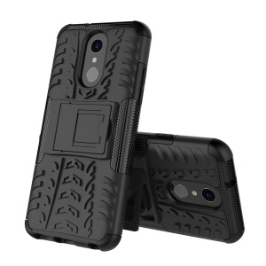 2-in-1 Tyre Pattern PC TPU Kickstand Hybrid Cell Phone Case for LG Q7 - Black