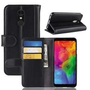 For LG Q7 Genuine Split Leather Wallet Stand Phone Cover - Black