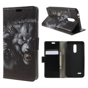 For LG K10 (2018) / LG K11 Pattern Printing Stand Leather Wallet Mobile Cover - Fierce Wolf