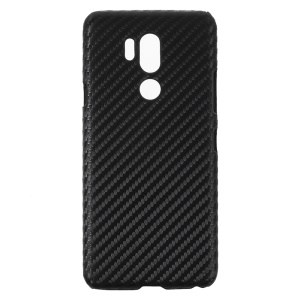 PU Leather Coated Hard PC Protector Case for LG G7 ThinQ - Carbon Fiber Texture
