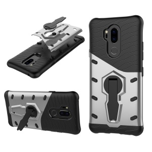 Armor PC + TPU Hybrid Case with 360-Degree Rotary Kickstand for LG G7 ThinQ - Silver