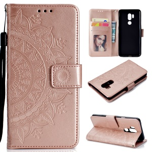 Imprint Mandala Flower Leather Wallet Case Cover for LG G7 ThinQ - Rose Gold