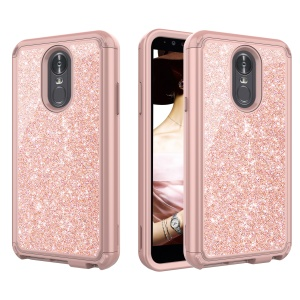 Glitter Powder Shockproof TPU PC Hybrid Cell Phone Cover for LG Stylo 4 / Q Stylus - Gold