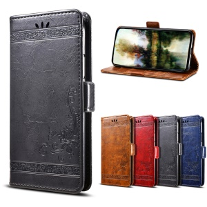 Imprinted Flower Oil Wax Stand Leather Magnetic Wallet Phone Casing for LG G7 ThinQ - Black