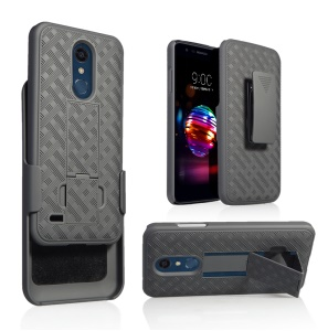 Woven Texture Belt Clip Kickstand PC + TPU Hybrid Holster Phone Case for LG K11 (2018)/K10 (2018)
