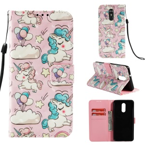Pattern Printing Light Spot Decor Stand Leather Wallet Cell Phone Shell for LG Q Stylus / Stylo 4 - Unicorn