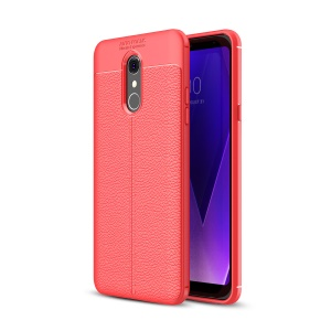 Litchi Texture TPU Protection Phone Back Case for LG Q Stylus / Stylo 4 - Red