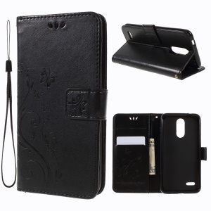Imprint Butterfly Flower Wallet Leather Case with Stand for LG K8 (2018) / LG K9 - Black