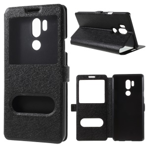 Silk Texture Dual View Window Leather Stand Case for LG G7 ThinQ - Black