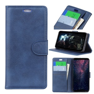 [Magnetic] Protective Case for LG V40 ThinQ Matte PU Leather Wallet Shell - Blue