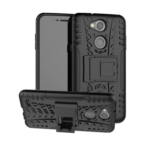 Tyre Pattern PC TPU 2-in-1 Hybrid Casing with Kickstand for LG X Power 3 - Black