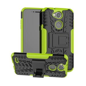 Tyre Pattern PC TPU 2-in-1 Hybrid Mobile Case with Kickstand for LG X Power 3 - Green