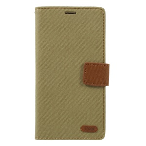 ROAR Twill Leather Wallet Stand Cellphone Case for LG V40 ThinQ - Khaki
