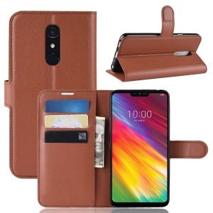 Litchi Skin [Stand Wallet] Leather Flip Phone Cover for LG G7 Fit - Brown