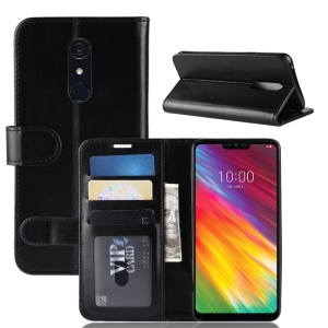 Crazy Horse PU Leather Flip Case for LG G7 Fit - Black