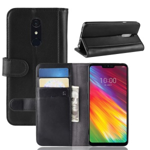 Split Leather Flip Case Wallet Stand Phone Cover for LG G7 Fit - Black