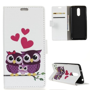 Pattern Printing Wallet Stand Leather Case for LG G7 Fit - Sweet Owl Family