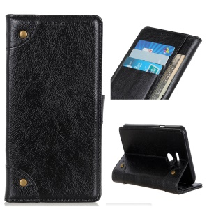 Nappa Texture PU Leather Phone Casing with Stand Wallet for LG G8 ThinQ - Black